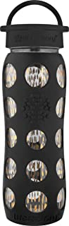 product image for Lifefactory 22-Ounce BPA-Free and Fused Gold Glass Water Bottle with Leakproof Classic Cap and Silicone Sleeve, Onyx Free and Fused Gold style