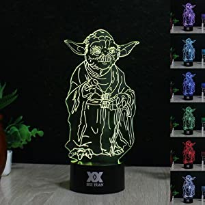 Huiyuan Desk Lamp 3d Star Wars 7 Colors Change Touch Switch Table LED Light Night Lighting Home Decoration Household Accessories