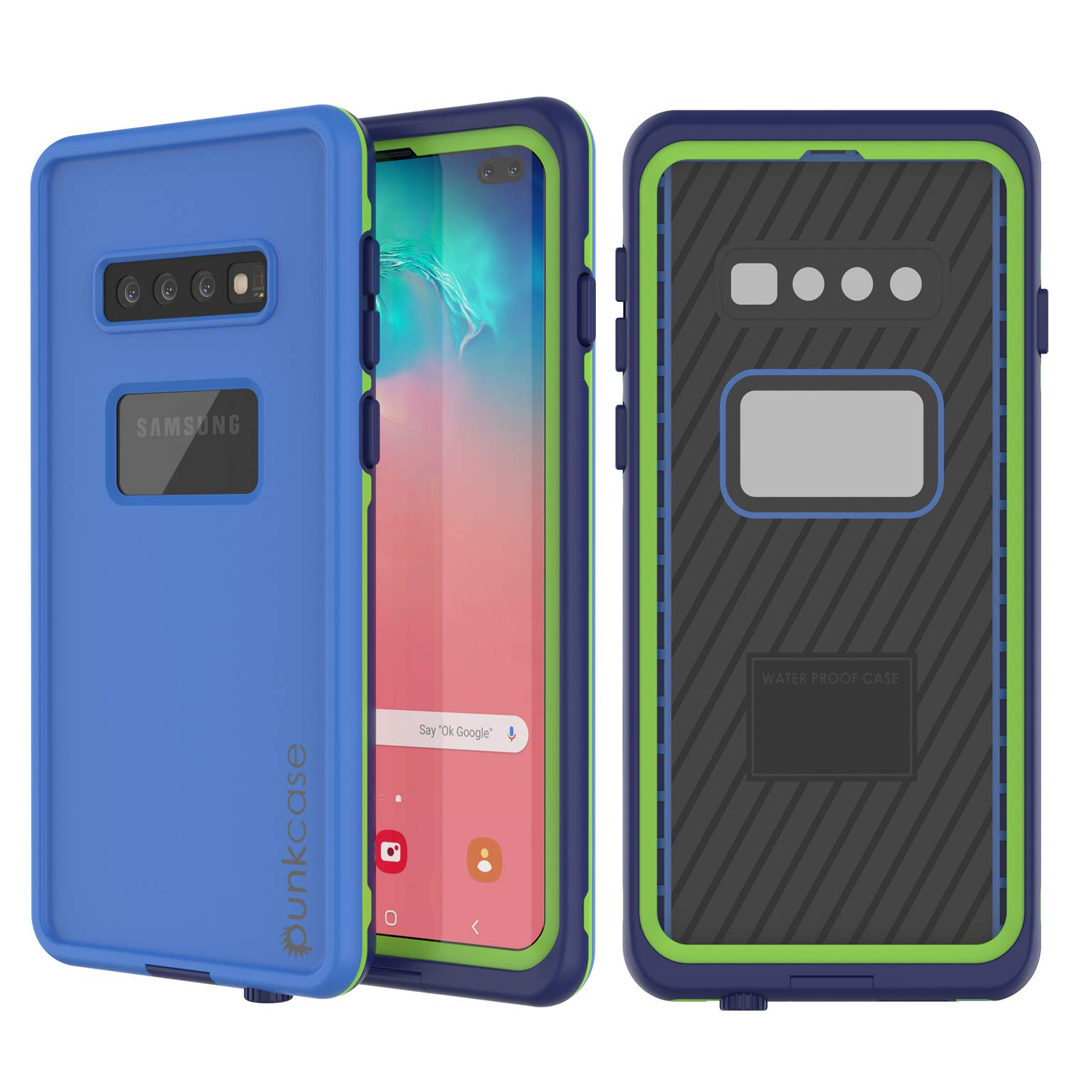 Punkcase S10 Plus Waterproof Case [Aqua Series] [Slim Fit] [IP68 Certified] [Shockproof] [Dirt Proof] Armor Cover W/Built in Screen Protector Compatible W/Samsung Galaxy S10 Plus [Blue]