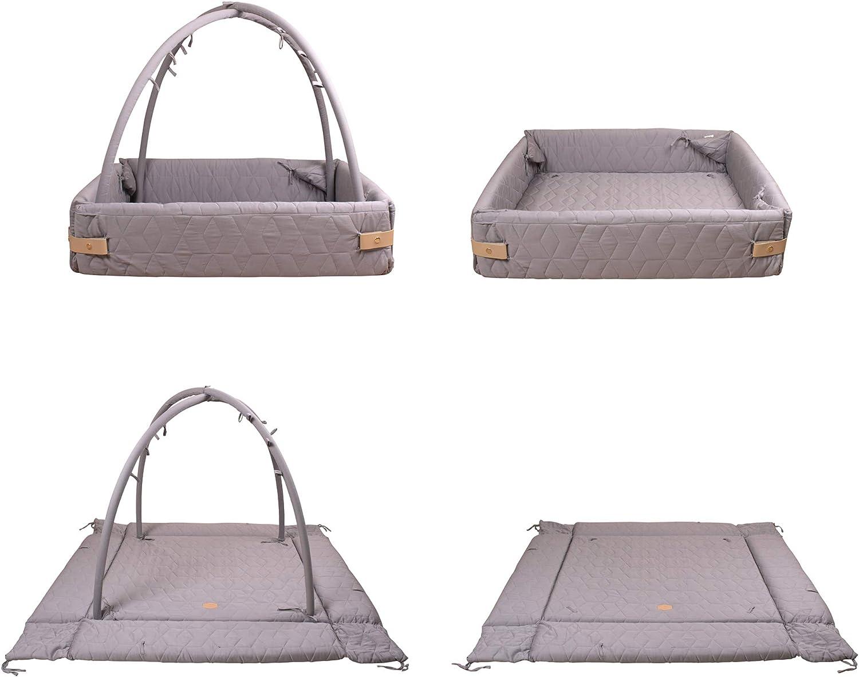 Filibabba Tapis moelleux 120 x 120 cm lavable en machine Arches amovibles Soft Quilt Dark Grey hauteur 60 cm