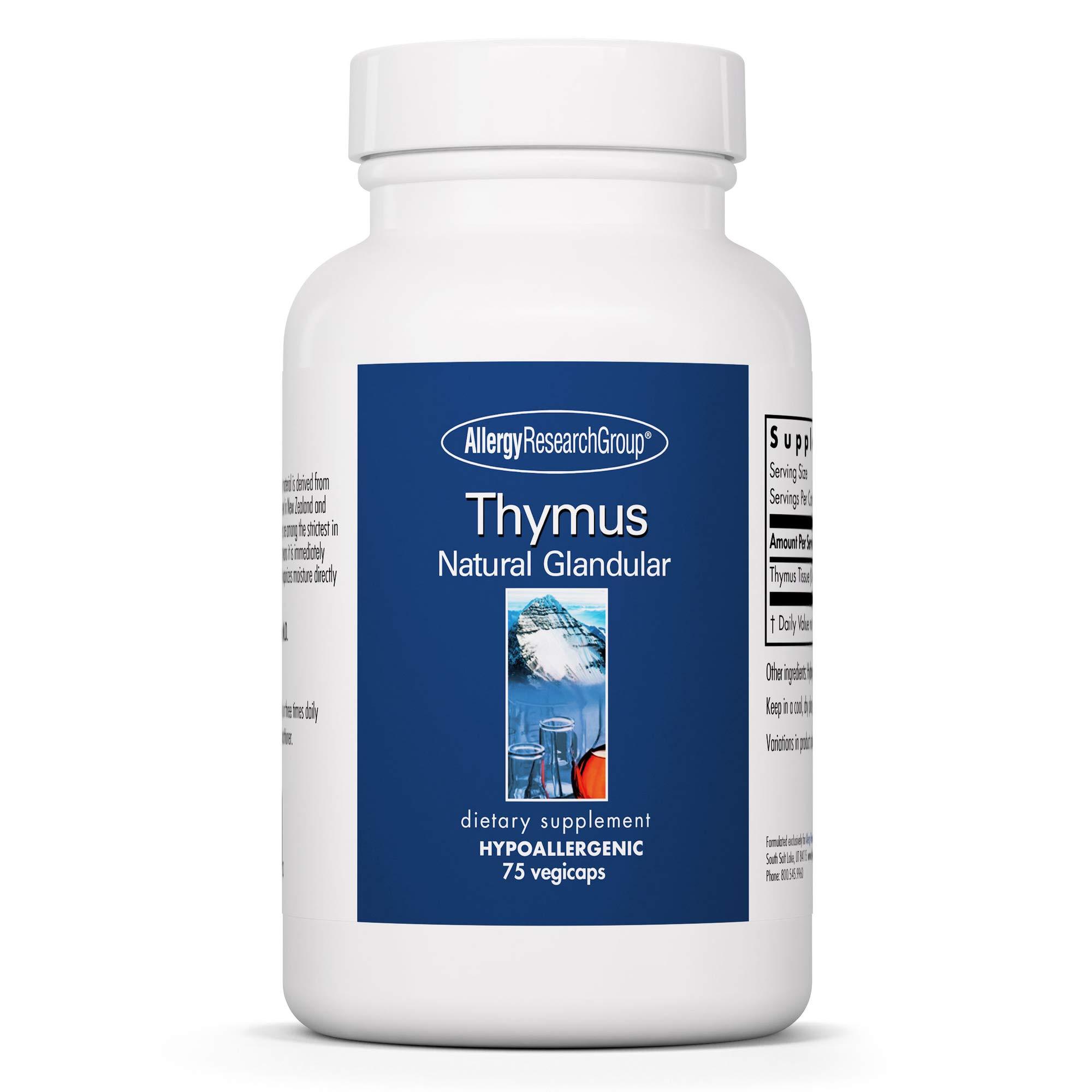 Allergy Research Group - Thymus - Natural Glandular, Immune Support - 75 Vegicaps