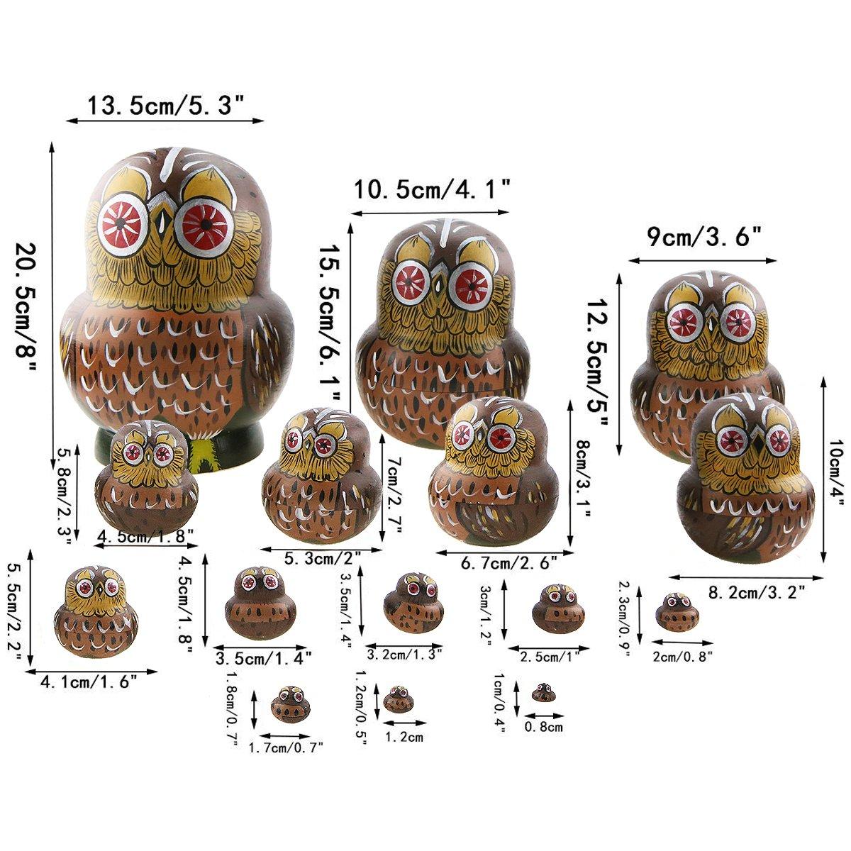 Winterworm Set of 15 Pieces Cartoon Brown Owl Russian Handmade Wooden Nesting Dolls Matryoshka Dolls for Birthday Christmas New Year Gift Home Decoration Kids Toy by Winterworm (Image #5)