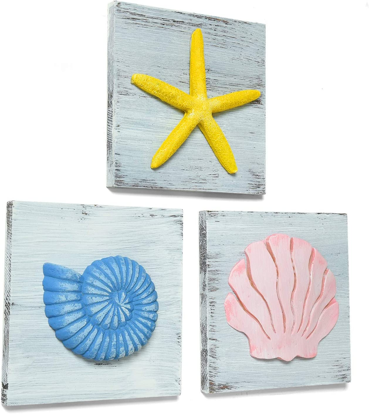 YoleShy Beach Wall Decor Set of 3 Wooden Rustic Coastal Decor Nautical Decorations for Home, Bathroom, Bedroom, Living Room, Starfish Seashell Decor - 6 x 6 Inches