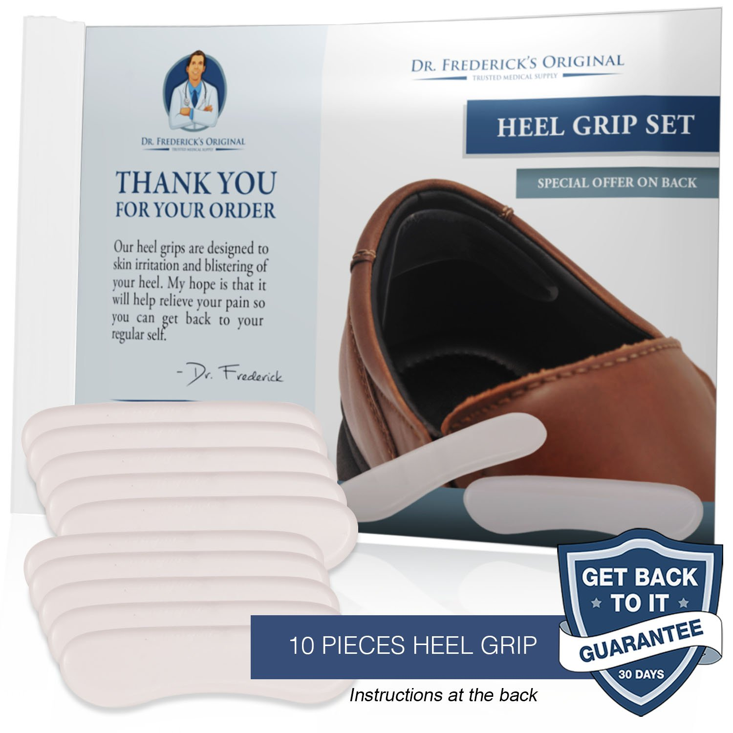 Dr. Frederick's Original Protective & Flexible Heel Grips Set - 10 Pieces - Adhesive Gel Heel Protectors to Prevent Blisters & Cuts - Heel Cushion Set for High Heels, Dress Shoes, Slip-Ons, and More by Dr. Frederick's Original (Image #2)
