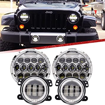 Car Light Assembly 4 Inch Round Led Fog Light Headlight 30w Projector Lens With Halo Drl Lamp Offroad For Jeep Wrangler Jk Dodge Hummer H1 H2 Car Lights