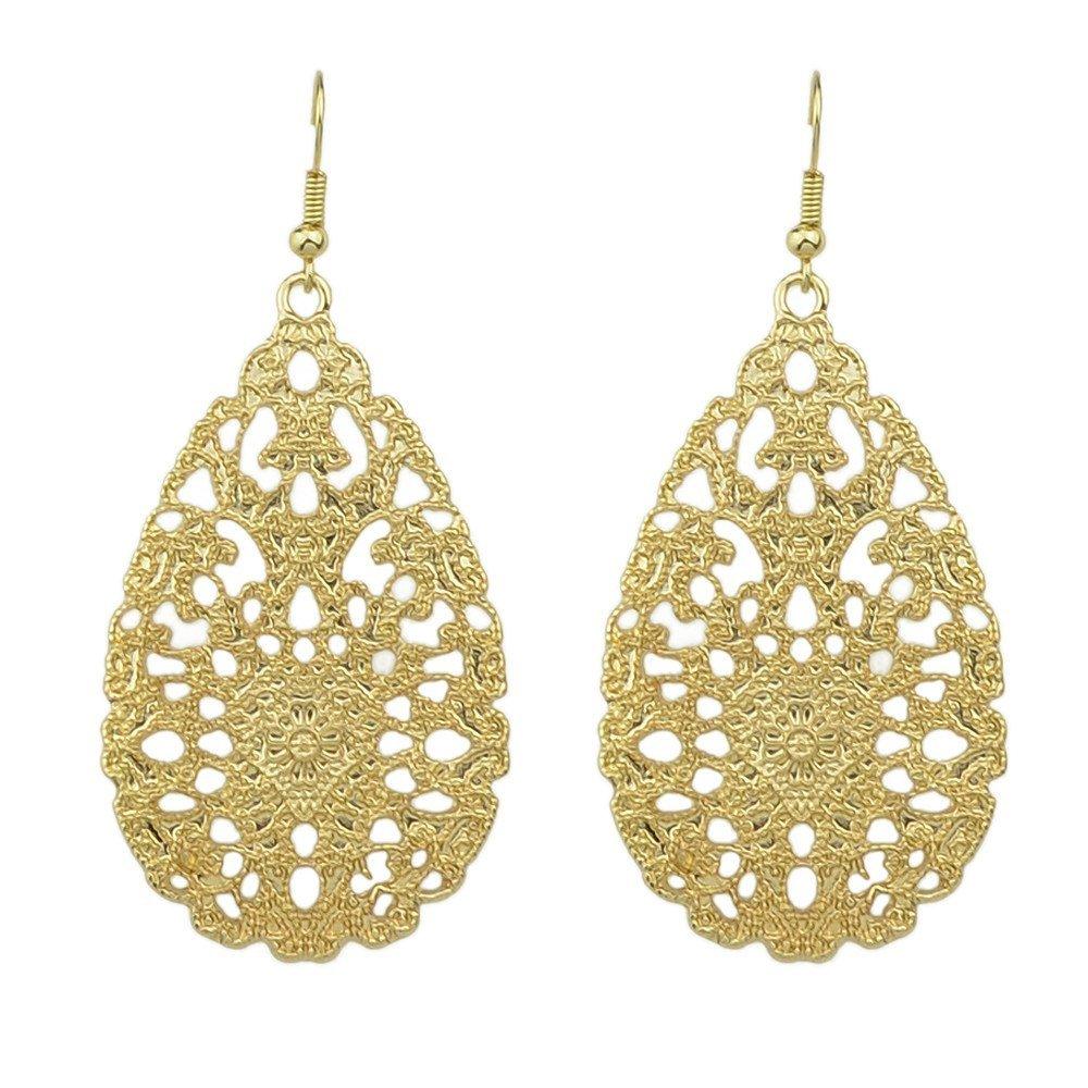 Feelontop® Best Seller Water Drop Shaped Long Drop Earrings with Jewelry Pouch ER-3703-BLACK
