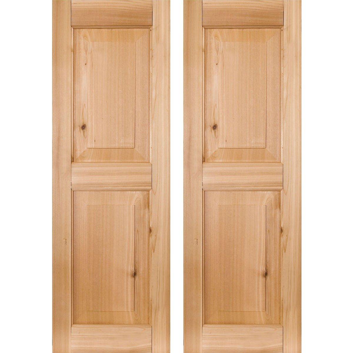 Ekena Millwork RWR12X056UNP Exterior Real Wood Pine Raised Panel Shutters (Per Pair), Unfinished, 12''W x 56''H by Ekena Millwork