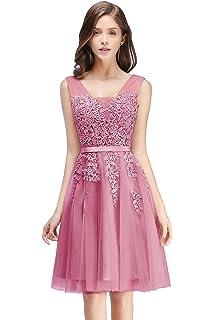 40502ca1e6b027 MisShow Damen Prinzessin Tüll V-Ausschnitt Brautjunfernkleid Applique  Ballkleid Abendkleid Rückenfrei Kurz Gr.32