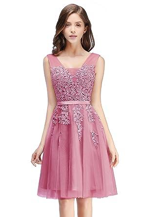 ceddc54dc3a057 Damen Rückenfrei Spitze Tüll Abendkleid Lang Ballkleid Hochzeit  Brautjungfernkleid mit Träger 32