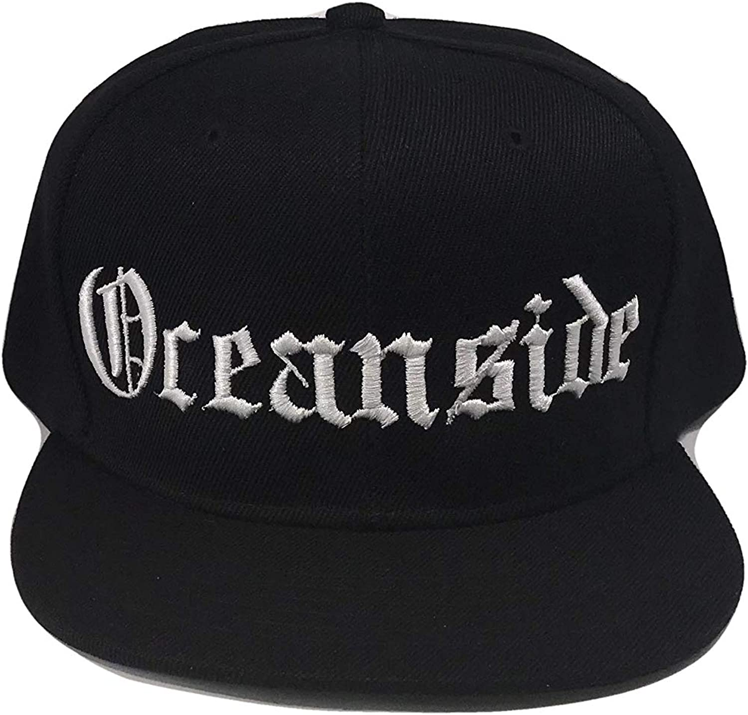 The Hat Shoppe Oceanside CA Flat Bill Snapback Flat Bill Cap (One Size, Black/White)