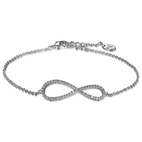 ab048acb43fe JewelryWe Schmuck Damen Armband Infinity Unendlichkeit Symbol Zirkonia  Armkette Verstellbar Charm Armkettchen, Silber