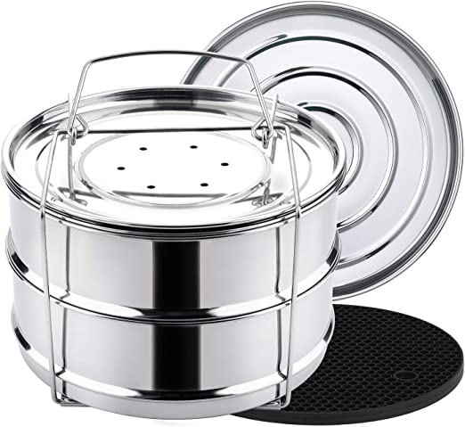 ekovana 3qt Mini Stackable Stainless Steel Pressure Cooker Steamer Insert Pans with Sling Handle Compatible with Instant Pot Accessories 3 Quart Two Interchangeable lids