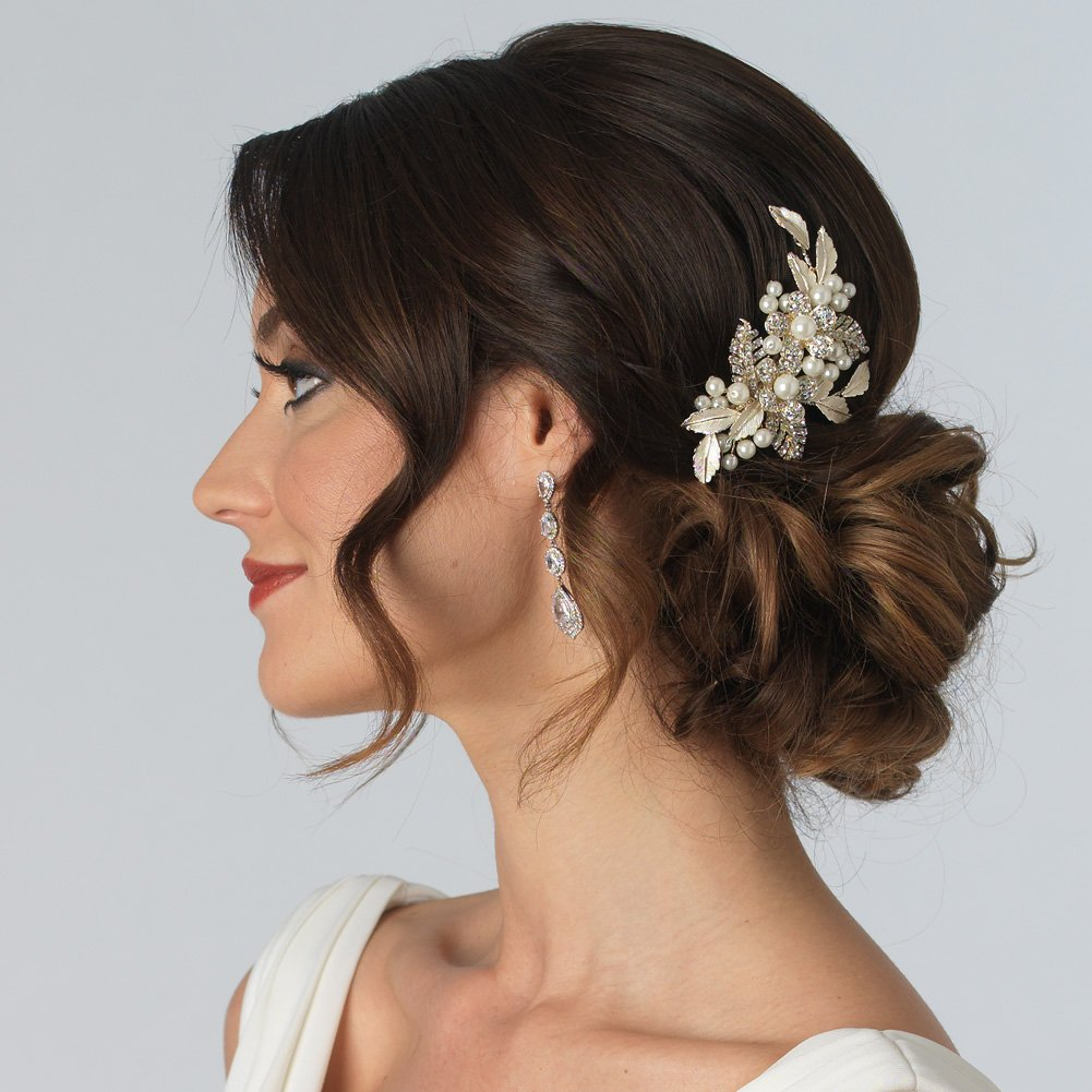 USABride Pretty Gold-Tone Simulated Pearl Flower Comb, Bridal Hair Accessory 2233-G by USABride (Image #2)