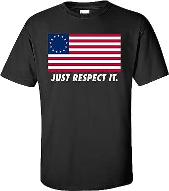 Patriotic Betsy Ross American Flag Just Respect It Adult Short Sleeve T-Shirt