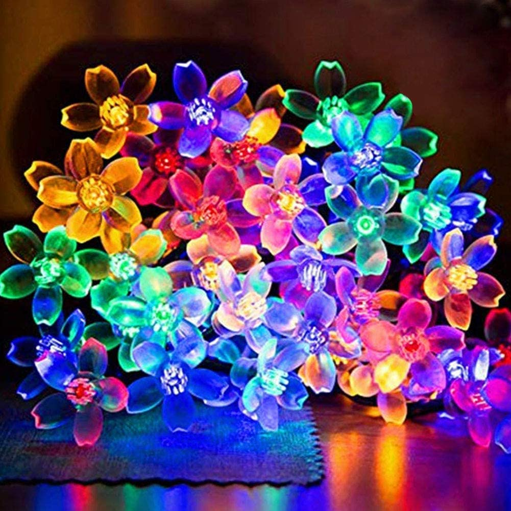 AWART Fairy String Lights Christmas Decorative Lights 33 Feet 100 LEDs, 8 Flash Modes with Tail Plug Connectable Cherry Flower Decoration Novelty Light for Party, Patio, Wedding, Home and Garden