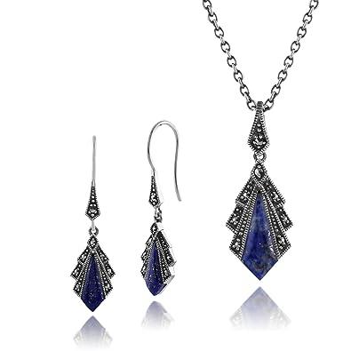Gemondo 925 Sterling Silver Art Deco Black Onyx & Marcasite Drop Earrings & 45cm Necklace Set clIgfK6P