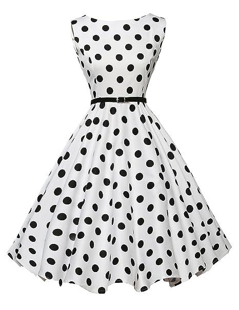 c1e0e0b10dc662 GRACE KARIN Boatneck Sleeveless Swing 1950 s Vintage Dress with Belt ...