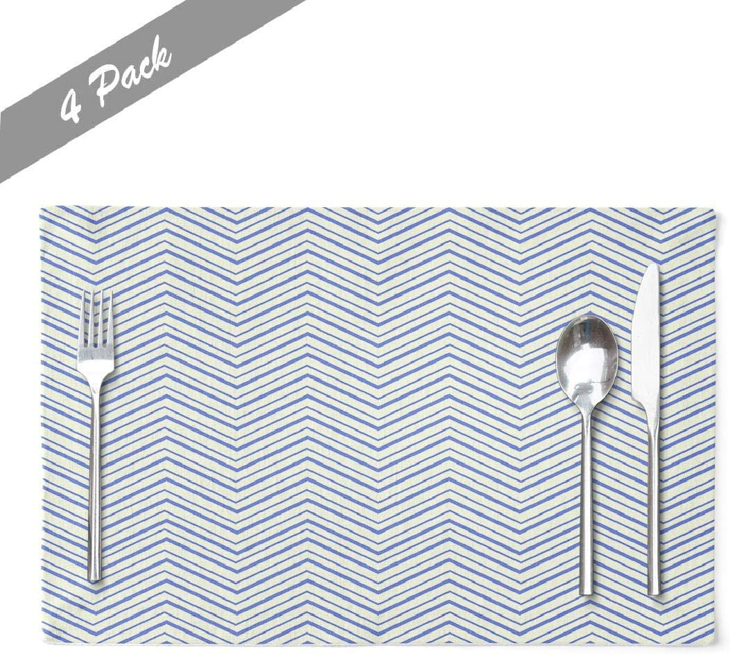 Ansote Navy-Blue-Zigzag Placemats, Zigzag Colors Summer Little Boy Blue Abstraction Band Banner 12x18 Inch Set of 4 Placemats Heat Resistant Dining Table Place Mats,Linen Non Slip for KidsAzure Blue