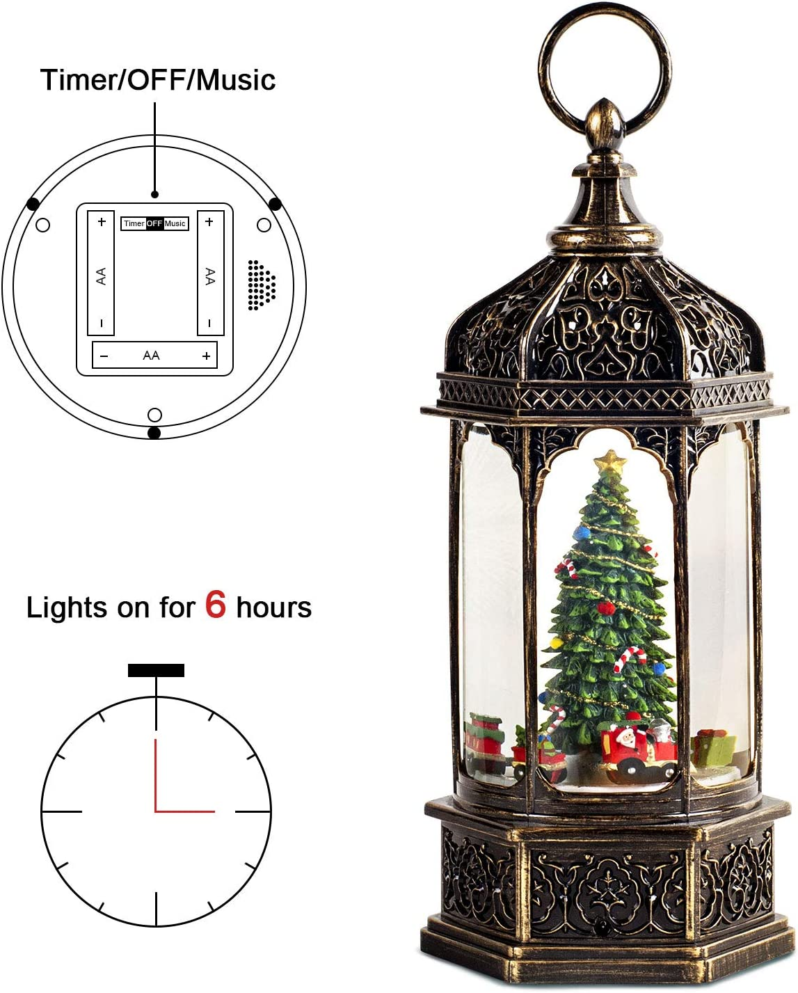 Special Gift for Festival Christmas Tree Christmas snow globes with spinning train Christmas Lighted Musical Snow Globes Christmas Snow Globe Lantern