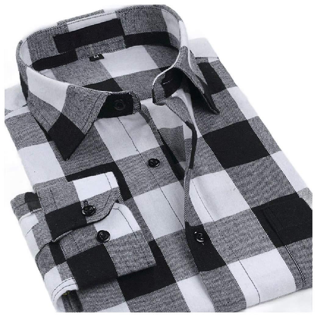 HEFASDM Men Long-Sleeve Classic-Fit Brushed Casual Shirt