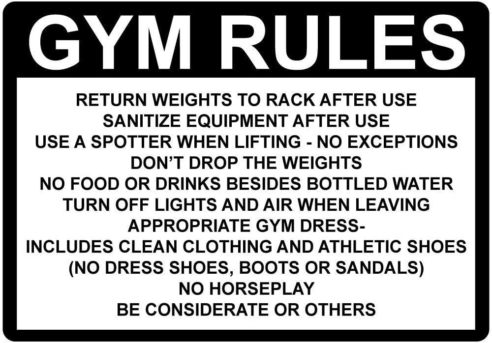 Anjoes Security Sign Safety 8x12 Tin Sign Decor Street Warning Gym Rules Return Weights Rack After Use Sanitize