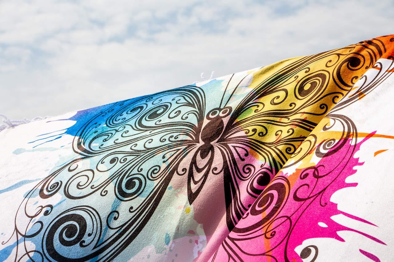 Ronde avec Franges Multi-Usages de Grande Taille Diam/ètre 156 cm 100/% Microfibre Motif: Papillon Made in Italy Nastrotecnica Serviette de Plage ECO Friendly Multicouleur