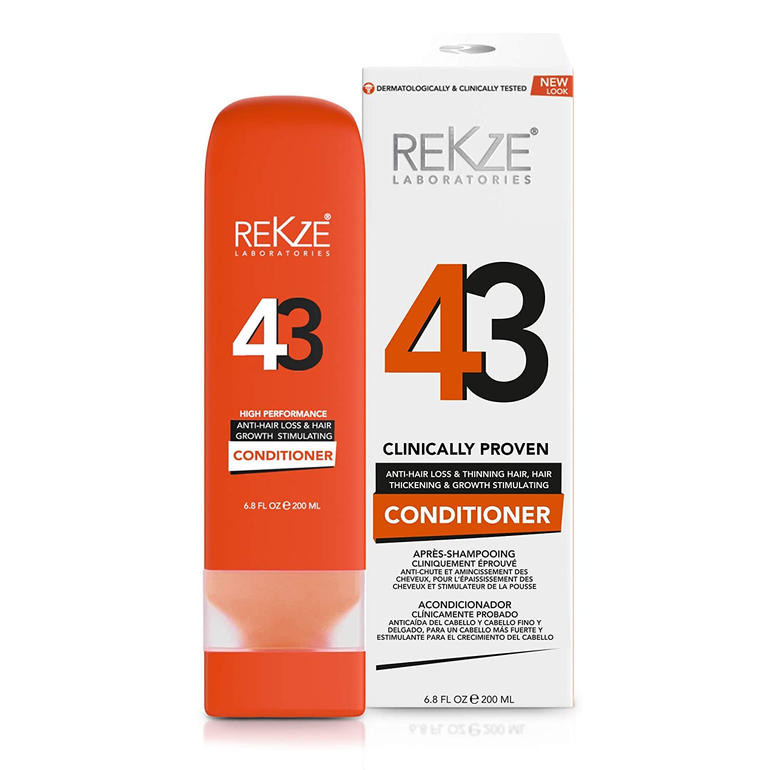 REKZE 43 Conditioner Clinically Proven Hair Growth Stimulating & Anti-Hair Loss For Men & Women, DHT Blocker For Thinning, Thickening & Damaged, All Hair Types, Color Treated: Beauty