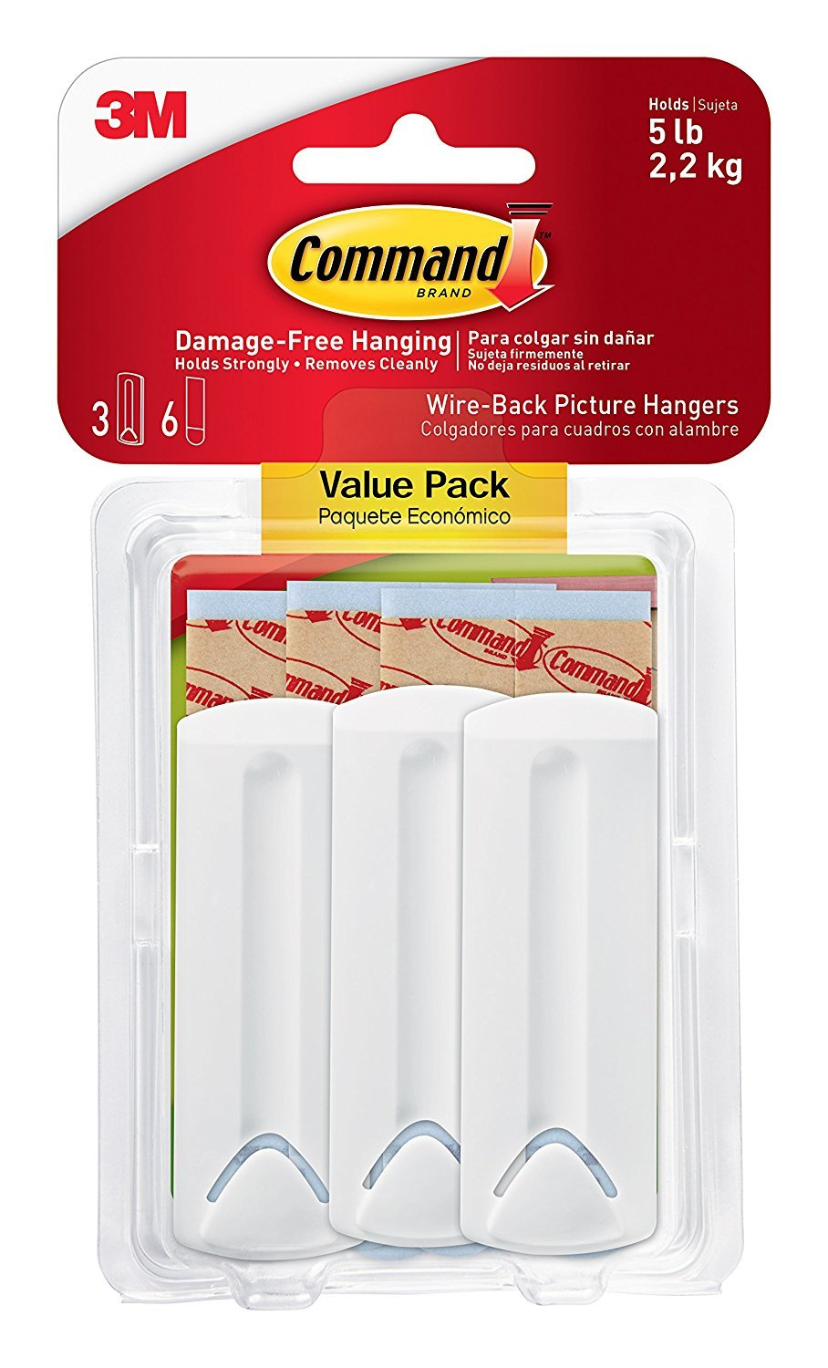 Command Wire Back Picture Hanger Value Pack, White, 3-Hangers (17043-ES) 3M