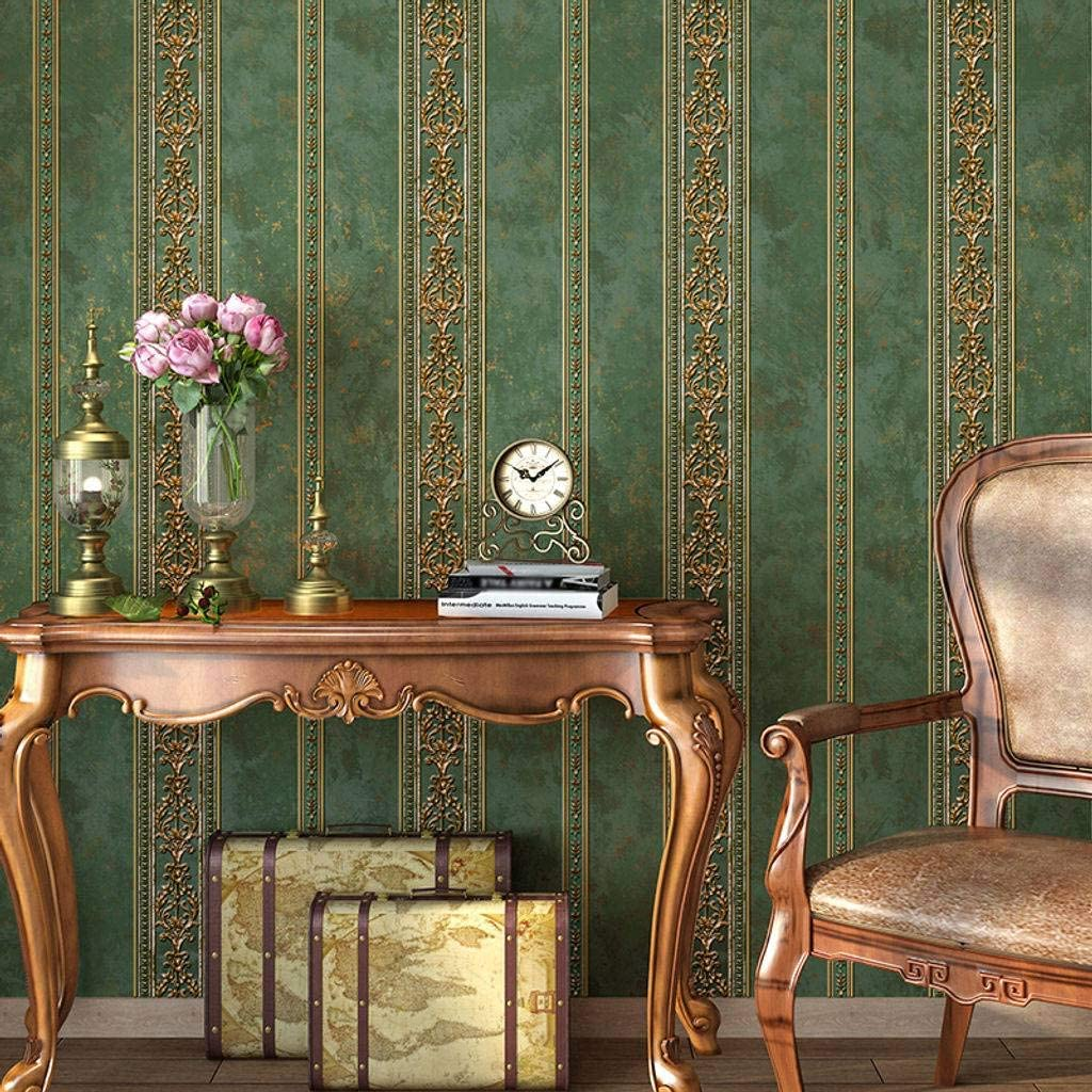 JLWM Tapete Barock Amerikanisch 3D Linderung Nicht Gewebt Pastoral Europ/äischer Stil Luxuri/ös Vintage-Blau-0.53x10m