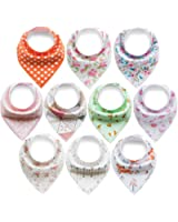 10-Pack Bandana Bibs Baby Girls Drool Bibs Gift Set for Drooling and Teething