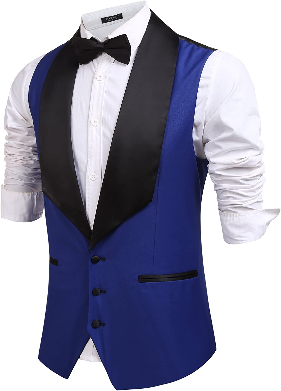 Coofandy Men's V-Neck Slim Fit Dress Suit Sleeveless Vest Waistcoat
