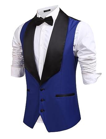 286a663735efc3 Coofandy Men s V-Neck Slim Fit Dress Suit Sleeveless Vest Waistcoat ...