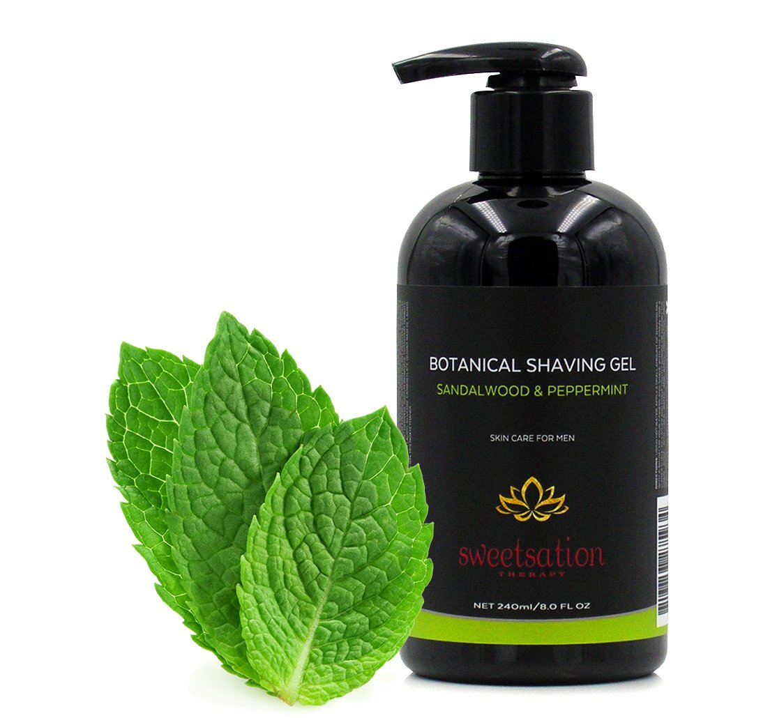 Botanical Shaving Gel, sandalwood & peppermint, 8oz