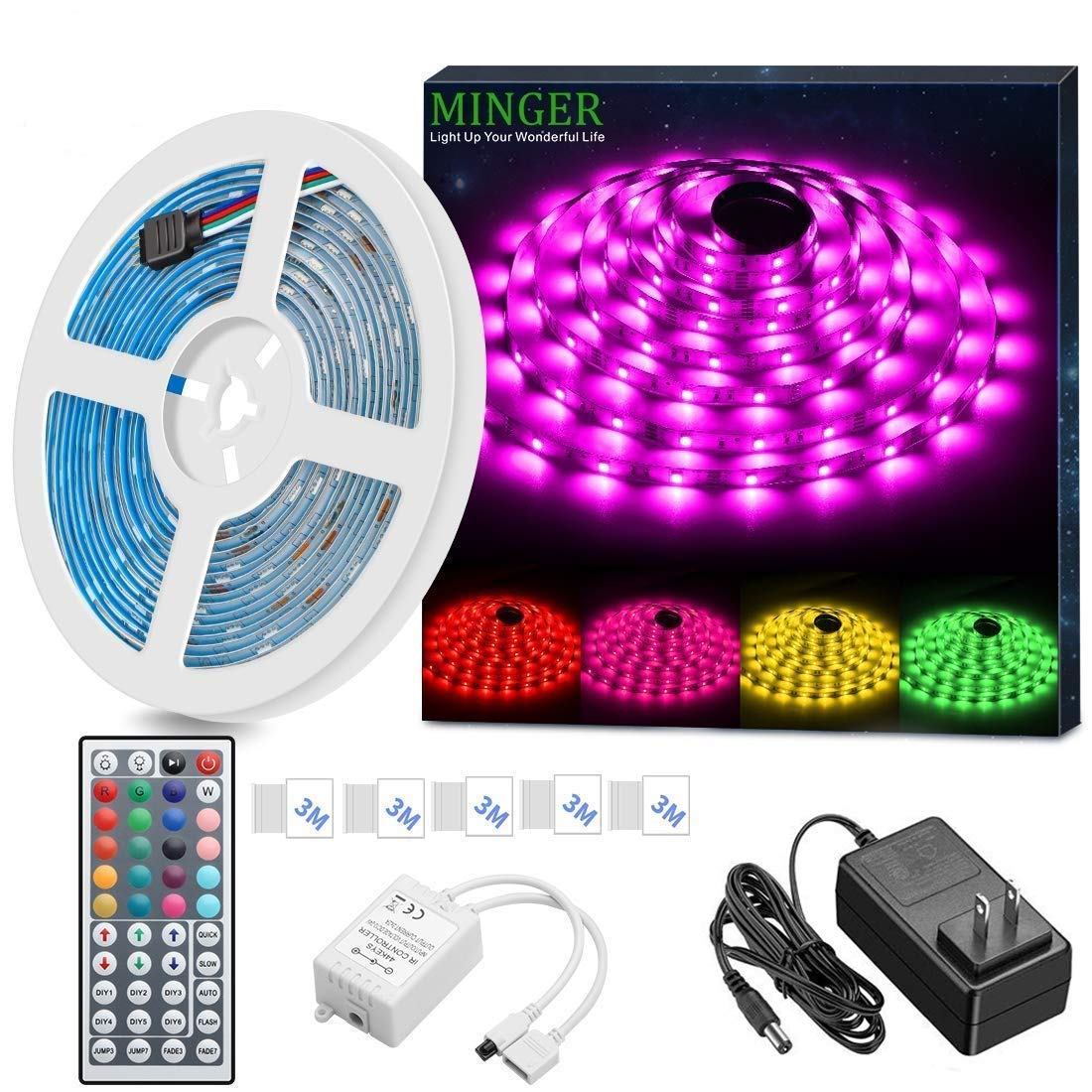 MINGER LED Strip Light Waterproof 16.4ft RGB SMD 5050 LED Rope Lighting Color Changing Full Kit with 44-keys IR Remote Controller & Power Supply Led Strip Lights for Home Kitchen Bed Room Decoration by MINGER (Image #1)
