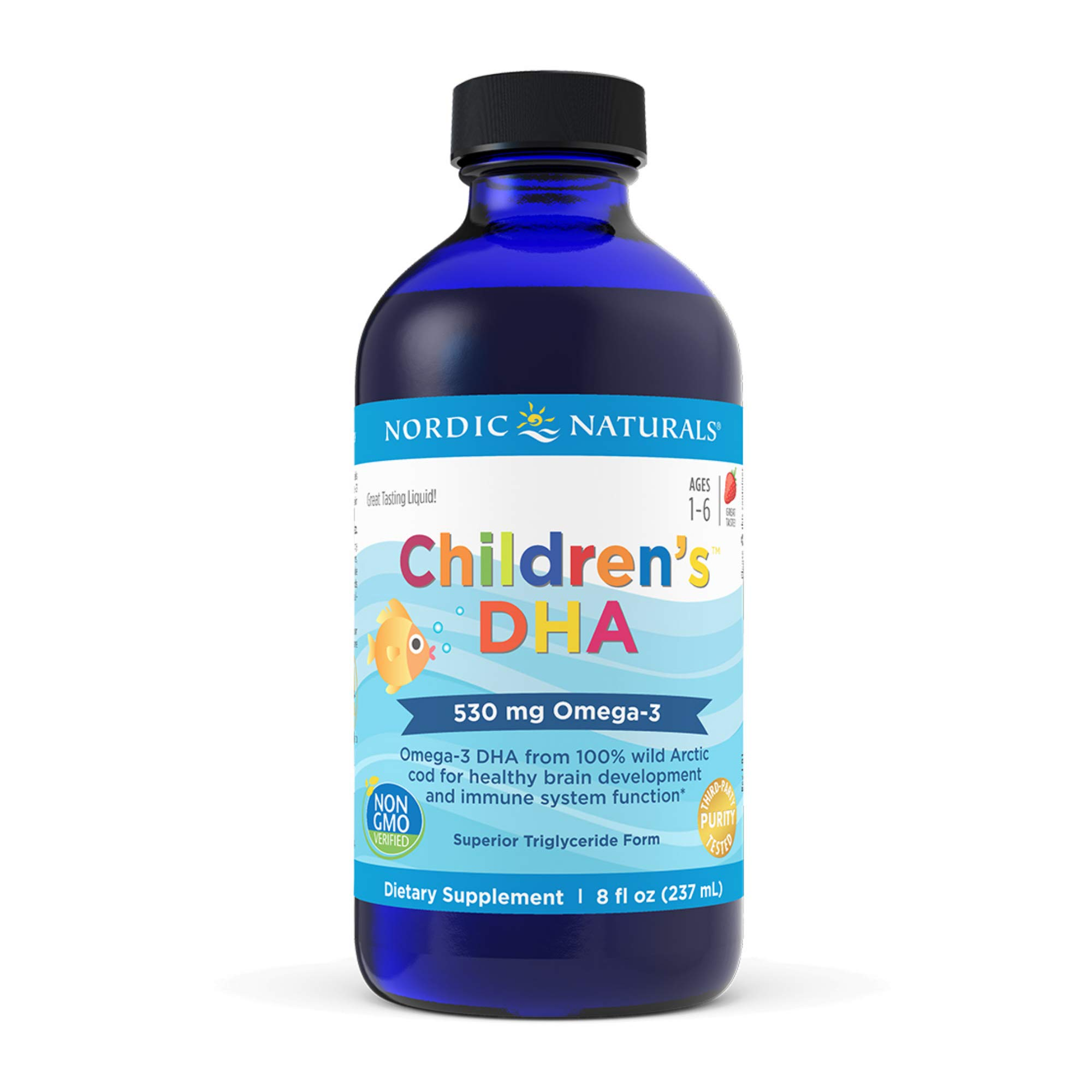 Nordic Naturals Children's DHA, Strawberry - 8 oz - 530 mg Omega-3 with EPA & DHA - Brain Development & Function - Non-GMO - 96 Servings