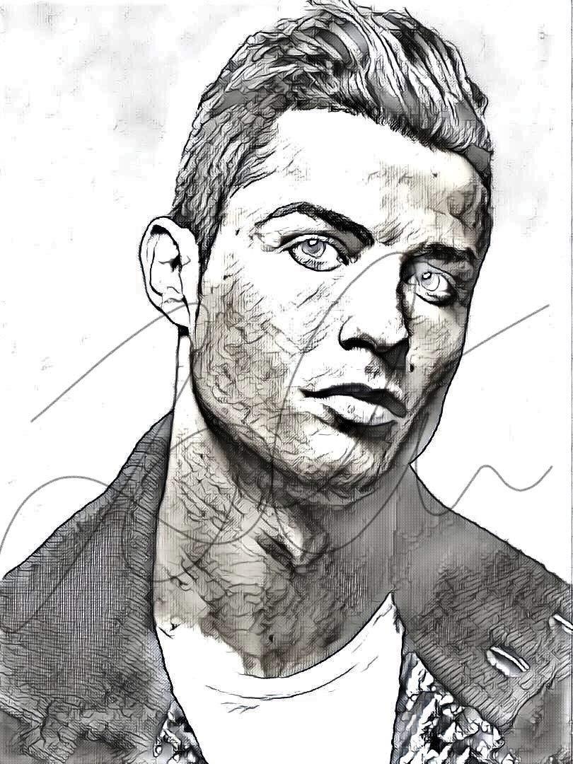 Amazon com cristiano ronaldo sketch drawing print poster hand drawn pencil singer ronaldo sketch1 handmade