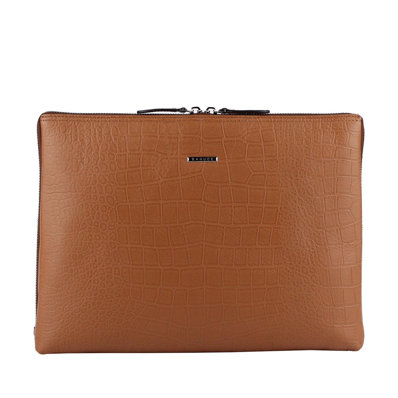 Banuce Sleeves Case for iPad and 11'' Laptop Bag Leather Clutch Purse Shoulder Messenger Bag