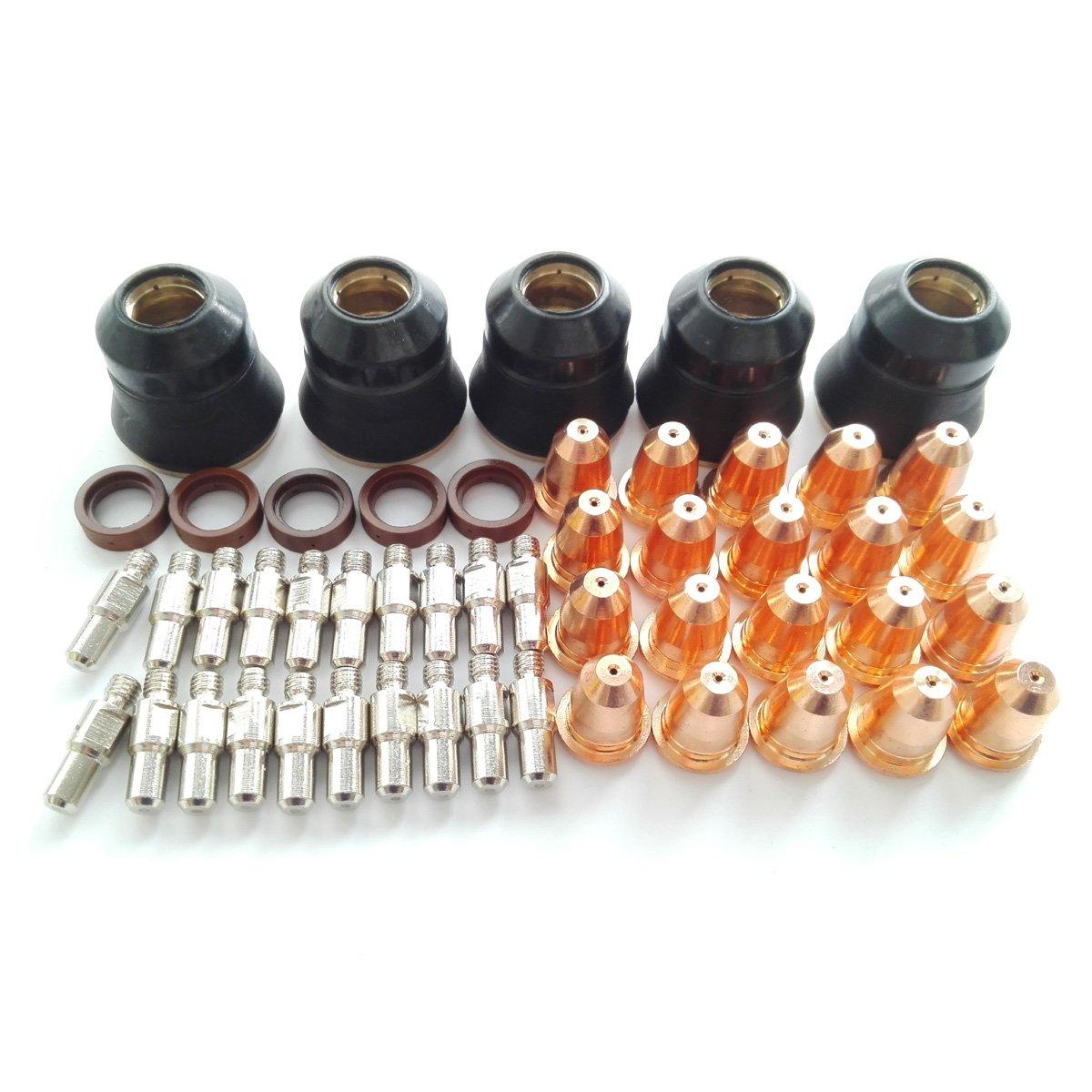 Trafimet S45 Consumables kit 50pcs All, Electrode PR0110 20pcs, Nozzle PD0116-08 20pcs, Swirl ring PE0106 5pcs, Retaining CAP PC0116 5pcs Best Welding Partner