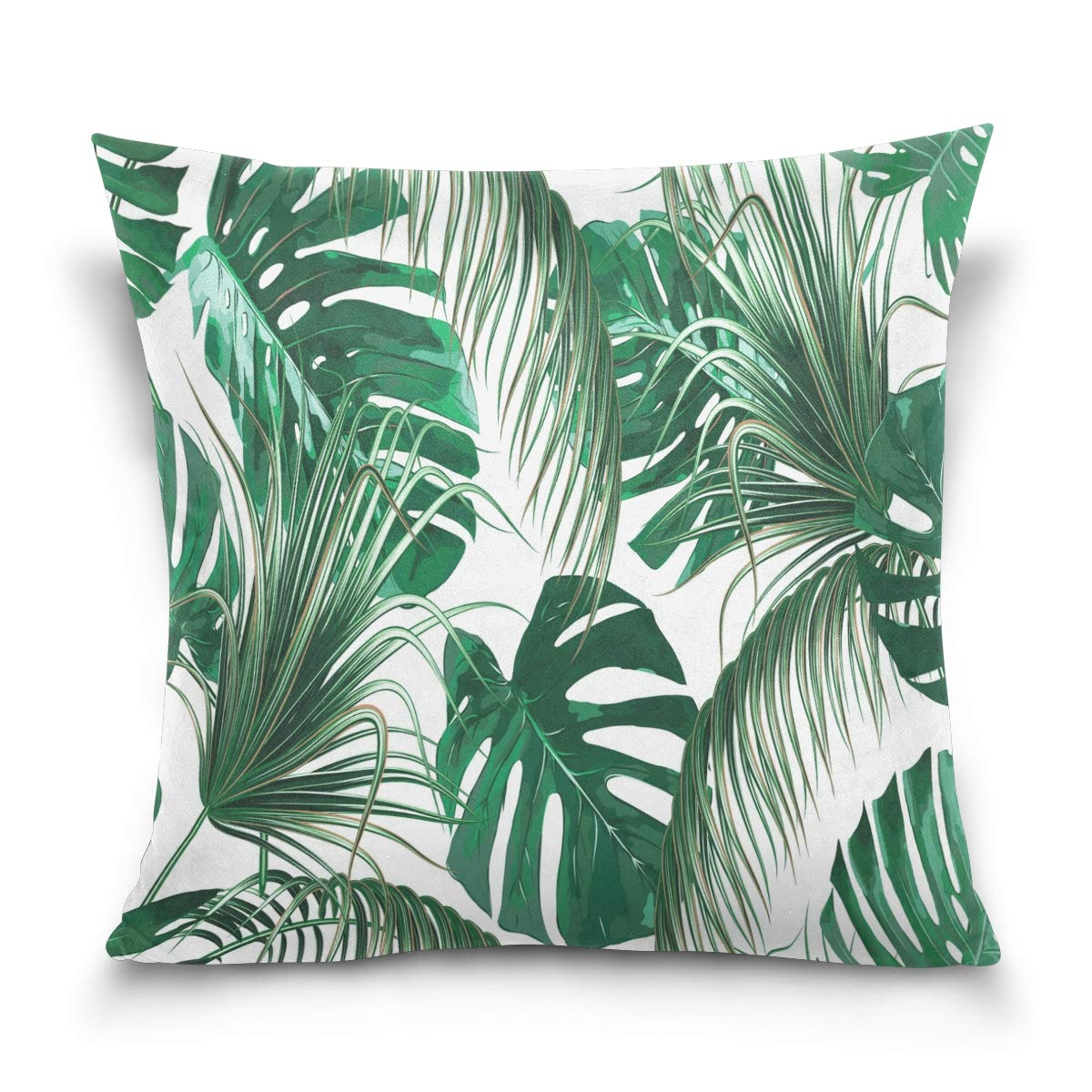 40 x 40cm//16 x 16 inches Use7 Housse de Coussin d/écorative carr/ée Motif Feuilles de Palmier Tropicales Vert Jungle Multicolore Tissu