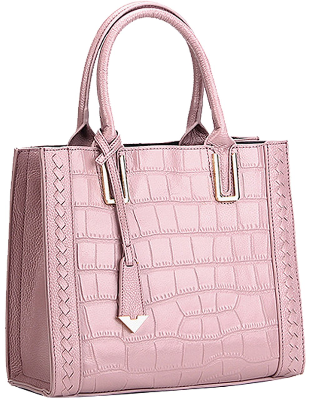 Menschwear Womens Genuine Leather Top Handle Satchel Bag Pink by Menschwear (Image #1)