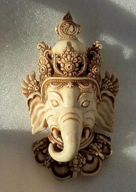 "6/"" Old Tibet Resin Painting Ganapati Ganesh Lord Ganesha Elephant Buddha Mask"