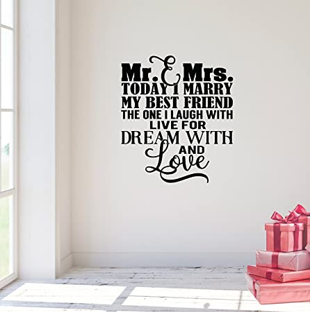 Wall Sticker Quotes 25x24 Mr And Mrs Today I Marry My Best