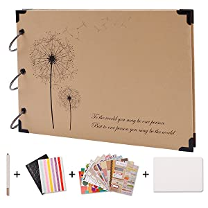 SICOHOME Scrapbook,Scrapbooking with Scrapbook Storage Box,Supplies and Sheet Protectors,Dandelion Printed Surface