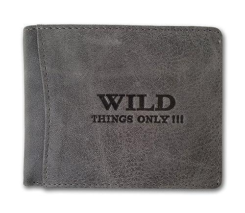 42a8f6ff66 Portafogli da uomo in pelle con chiusura a portafoglio con portamonete  WILD, Grigio (grigio