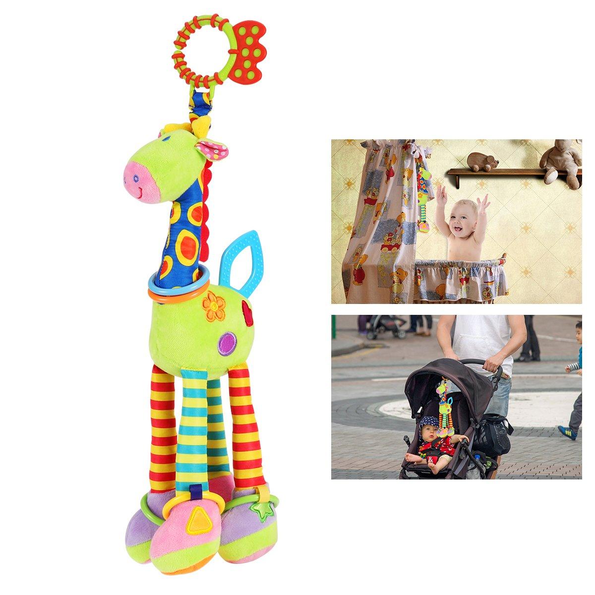 NUOLUX Bébé Jouet de Poussette Hochet Jouets Girafe Educatifs en Peluche d'activités Hanging Jouets avec Sonnerie (Couleur Aléatoire)