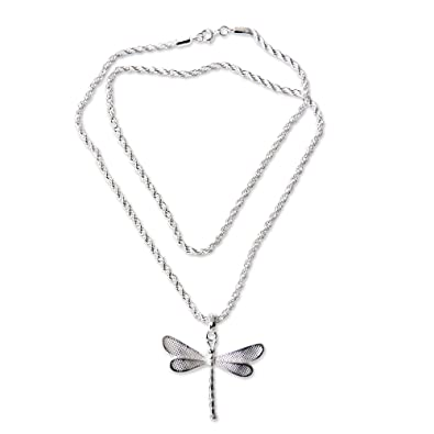 amazon novica 925 sterling silver dragonfly pendant necklace Cultural Center Vector image unavailable