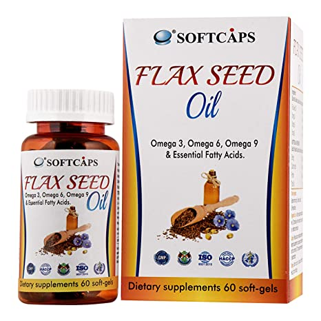 Buy Softcaps Flaxseed Capsule 1000mg With Omega 3 6 9 60 Capsules