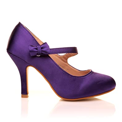 CHARLOTTE Purple Satin High Heel Bridal Bow Mary Jane Shoes ...