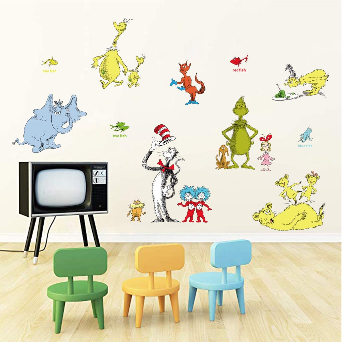 decalmile Cute Cartoon Characters Wall Stickers Kids Wall Decals Childrens Bedroom Classroom Wall Decor