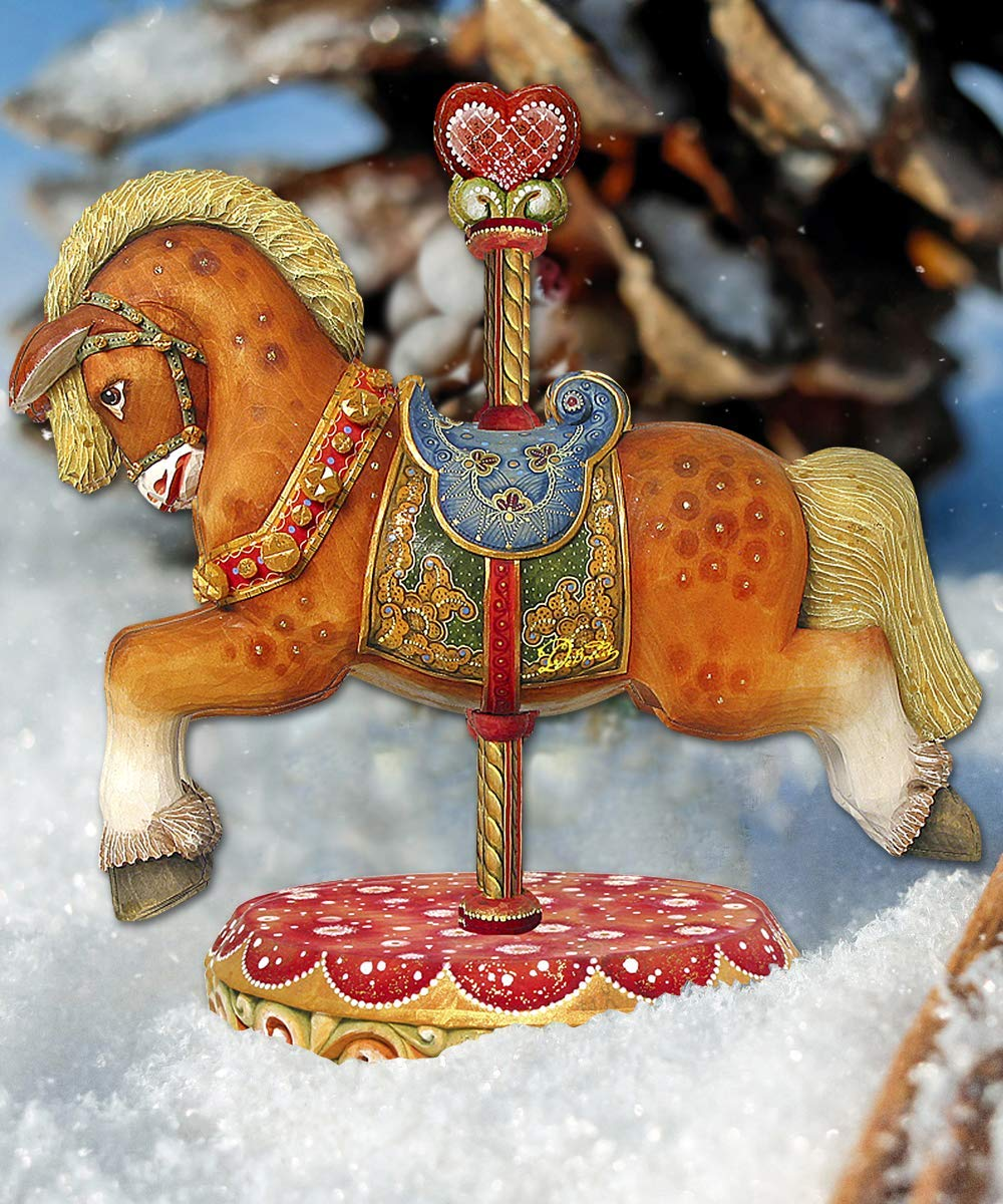 Carousel Horse Wooden Decorative Hanging//Freestanding Figurine #8114041BM Christmas decorations